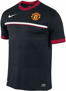 Nike Manchester United Soccer Stripe Crest Pre Match Dri-FIT Jersey Top T-Shirt