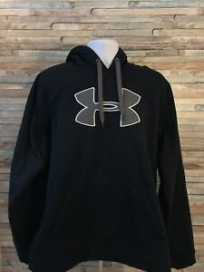 Under Armour Men's XL Black Grey Cold Gear Loose Fit Pullover Hoodie