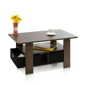 Furinno Home Living Espresso and Brown Built-In Storage Coffee Table