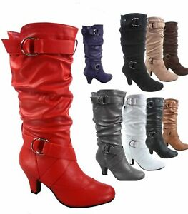 Women's Round Toe Low Heel Zipper Slouchy Mid Calf Boots Shoes Size 5 11 NEW $23.99