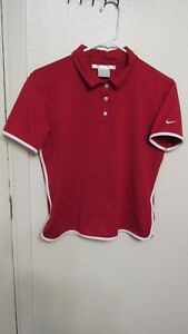 NIKE GOLF Kids Boys Embroidered Red w White Polo Shirt sz S(4-6) Fit dry