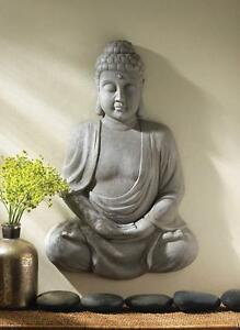 large 2' tall WALL HANGING statue wall art sculpture BUDDHA sitting Meditation