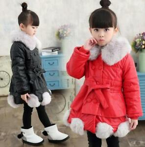Kids Girls PU Leather Cotton Fur Collar Coat Thicken Warm Jacket Long Parkas New