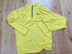 NWOT UNDER ARMOUR Mens Sz XL Heatgear Yellow Long Sleeve Polo Shirt $70! Loose