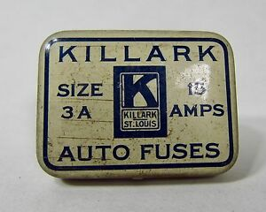 Vintage Killark Auto Fuses Tin Different Amp Sizes