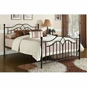 Full Queen King Size Bronze Finish Metal Platform Bed Frame Headboard Footboard
