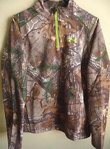 Boys Under Armour ColdGear Infrared Scent Control Camo 14-Zip Sweatshirt YXL