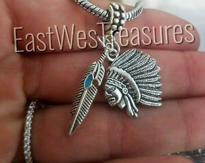 Chief Headdress Feather Spiritual charm bracelet pendant necklace jewelry gifts