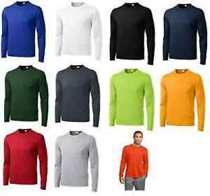 MEN'S MOISTURE WICKING DRY FIT SPORT-TEK Long Sleeve T-SHIRT NEW XS-4XL ST350LS