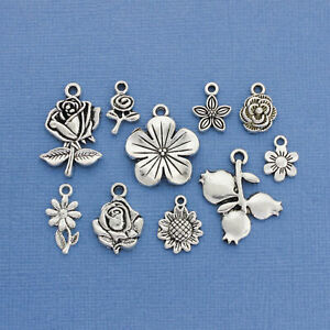 Flower Charm Collection Antique Silver Tone 10 Different Charms COL083 $6.95