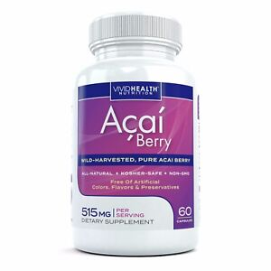 Pure Acai Berry Capsules Natural Fat Burner for Weight Loss Detox Cleanse $9.99