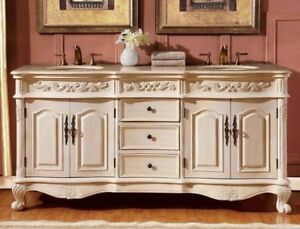Traditional Vanity Set W Marble Top Double Sink Large 72