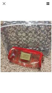 Coach Clear Cosmetic Make-Up Case And Brush Bag Rare Hard To Find NEW