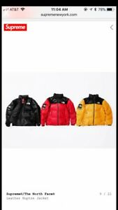 Supreme X The North Face® Leather Nuptse Jacket M L XL FW17 PREORDER