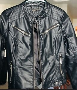 Brand new jou jou black faux leather jacket for girls