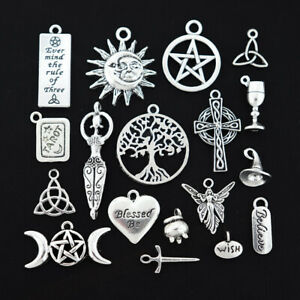 Wiccan Charm Collection Antique Silver Tone 18 Different Charms COL016