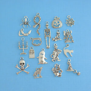 Halloween Charm Collection Deluxe Antique Silver Tone 18 Charms COL088 $6.44