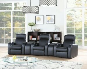 BLACK TOP GRAIN LEATHER MATCH 3 RECLINER 2 CONSOLES THEATER SEATS FURNITURE SET