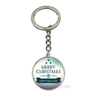 Vintage Glass Cabochon silver Car Key chain ring pendant(happy new year )A-231