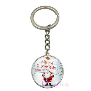 Vintage Glass Cabochon silver Car Key chain ring pendant(happy new year )D-230