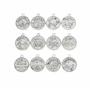 Zodiac Charms Antique Silver Tone Set of 12 Double Sided SC7002 $6.44