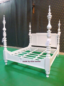 WHITE Super King size 6' mahogany Dutch Style Four poster designer canopy Bed