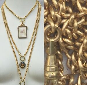 """Heavy Watch chain Necklace Gold Solid Brass lanyard vtg 16-31"""" Victorian repro"""
