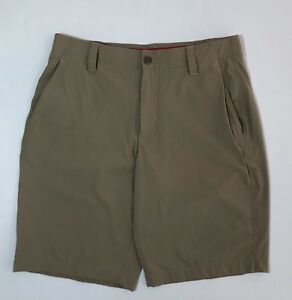 Mens UNDER ARMOUR Tan Flat Front Golf Shorts Size 34 - EUC