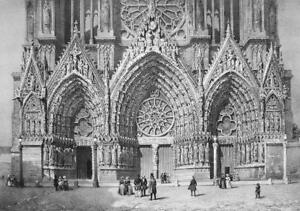 FRANCE Reims Cathedral Western Portal - SUPERB 1843 Antique Print
