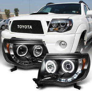 For Black 2005 2011 Toyota Tacoma LED Halo Projector Headlights lamps Pre Runner $158.99