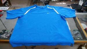 Nike Fit Dry Tennis Men's Short Sleeve Shirt Size Large Blue Polyester #14594