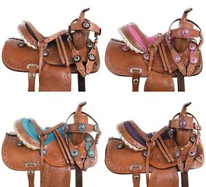 10 12 13 CRYSTAL KIDS YOUTH WESTERN LEATHER TRAIL BARREL RACING PONY SADDLE TACK