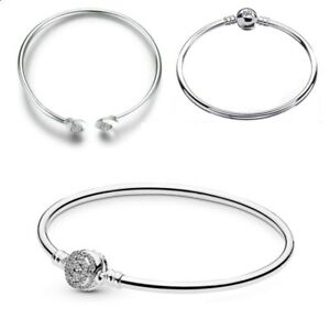 925 Sterling Silver NEW EDITION Moments Clasp Bangle Bracelet fit European Charm