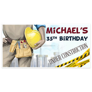Construction Watercolor Birthday Banner Party Decoration Backdrop