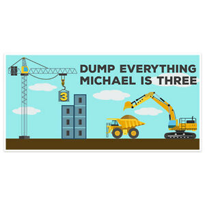 Construction Dump Everything Birthday Banner Party Decoration Backdrop