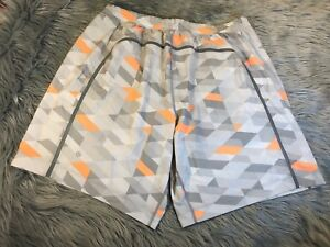LULULEMON Mens Pace Breaker Shorts w Liner Gray Orange Print 9