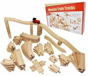 Joyin Toy 62 Pieces Wooden Train Track Expansion Set - NOT for BATTERY OPERATED
