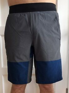 LULULEMON Size S Mens Core Short Black Blue Gray Stripe Shorts No Liner EUC
