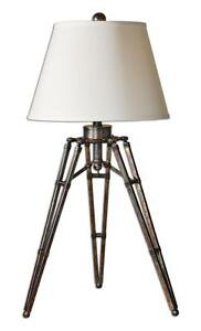 Luxe Designer TRIPOD TABLE Lamp Metal Architectural Industrial Modern Accent