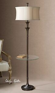 Designer Classic Bronze End Table Floor Lamp