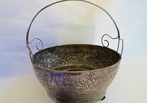 VINTAGE  SILVER  HAND CARVED THAI  STYLE  Leafs  Handle  Basket 19th Century