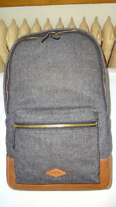 Fossil Estate Gray Wool Laptop Backpack Leather Trim Unisex Women Men NWT
