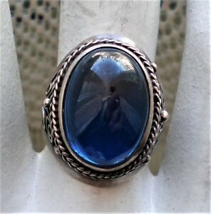 Vintage Russian Sterling Silver 925 Sapphire Cabochon Cocktail Dinner Ring 7.9 g