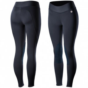 Horze Active Women's Knee Patch Winter Riding Tights Low-Midrise Waist