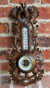 Antique French Carved Oak BLACK FOREST Hunt Barometer Thermometer Deer Stag