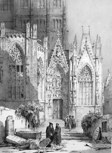 GERMANY Worms Cathedral Side Portal  - SUPERB 1843 Lithograph  Print
