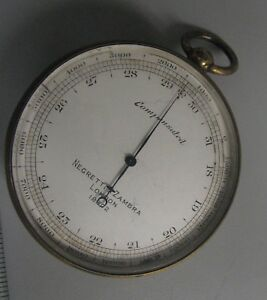 Antique pocket barometer  altimeter Negretti & Zambra London No. 18802.