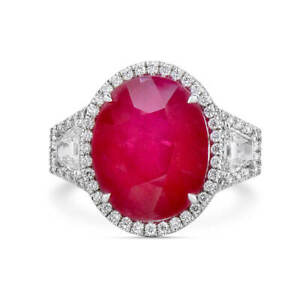 14.50 Ct Oval Cut Real Red Ruby New Fashion Style Ring 18K White Gold Certified