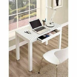 White Computer Desk Drawer Laptop Student Work Study Table Home Office Furniture