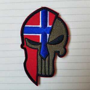 FLAG OF NORWATY NORWEGIAN FLAG PUNISHER SKULL SPARTAN HELMET HOOK PATCH FOREST